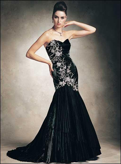 Black And White evening dress | elegant black and white long evening ...