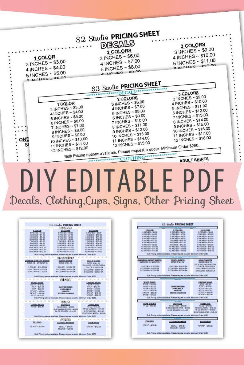 Vinyl Decals Pricing Sheet Editable Pdf Letter Size Form Blank Etsy Cricut Projects Vinyl Cricut Tutorials Vinyl Decals