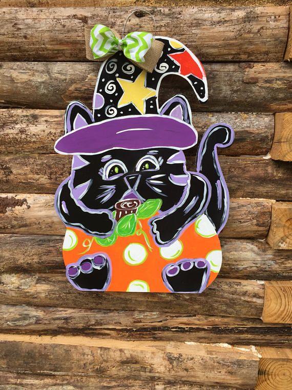Black cat Halloween door hanger Cat door hanger Halloween