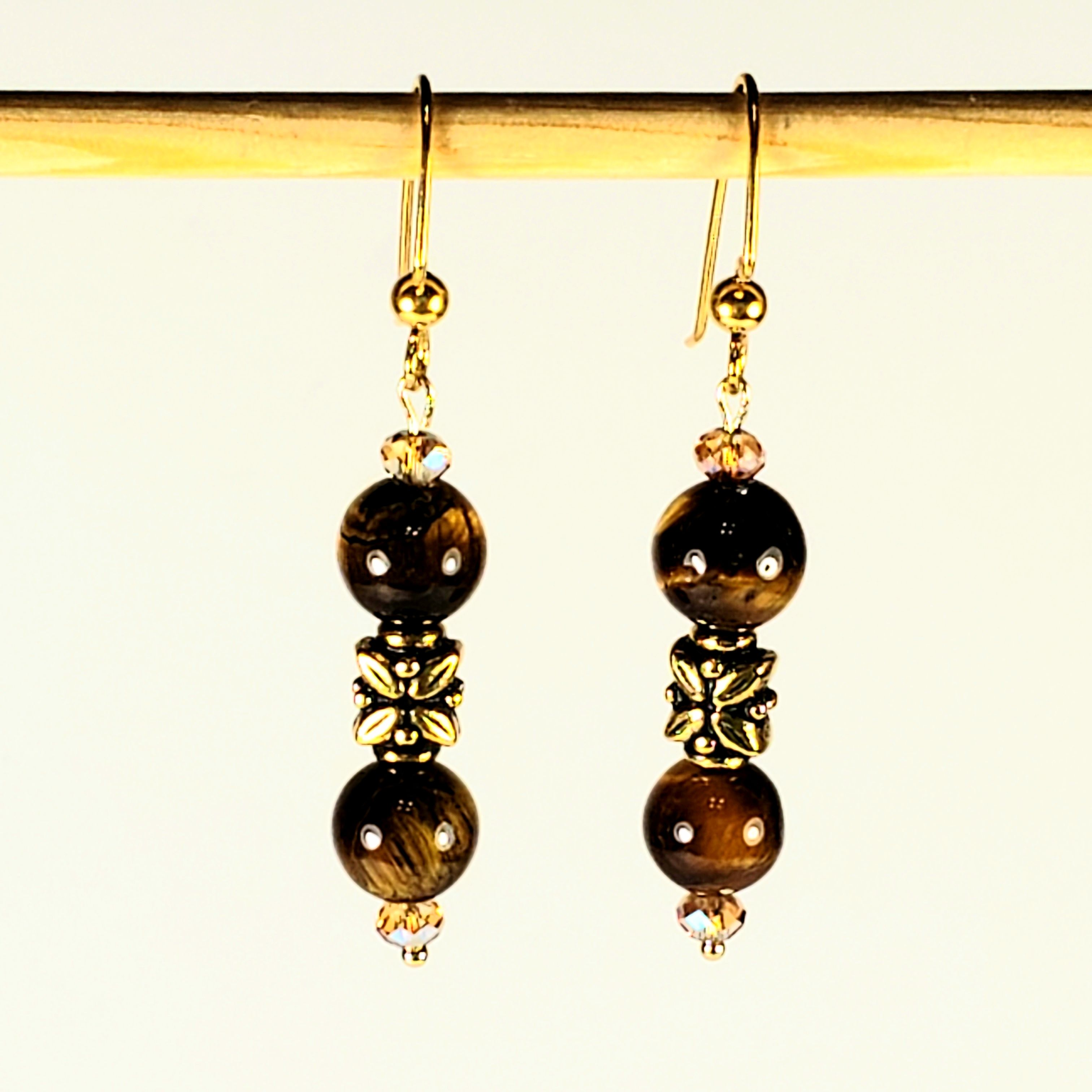 f908d4fb7 Gorgeous Tiger's Eye Beaded Gemstone Earrings with 8mm highly Polished  Round Tiger's Eye Beads, Center