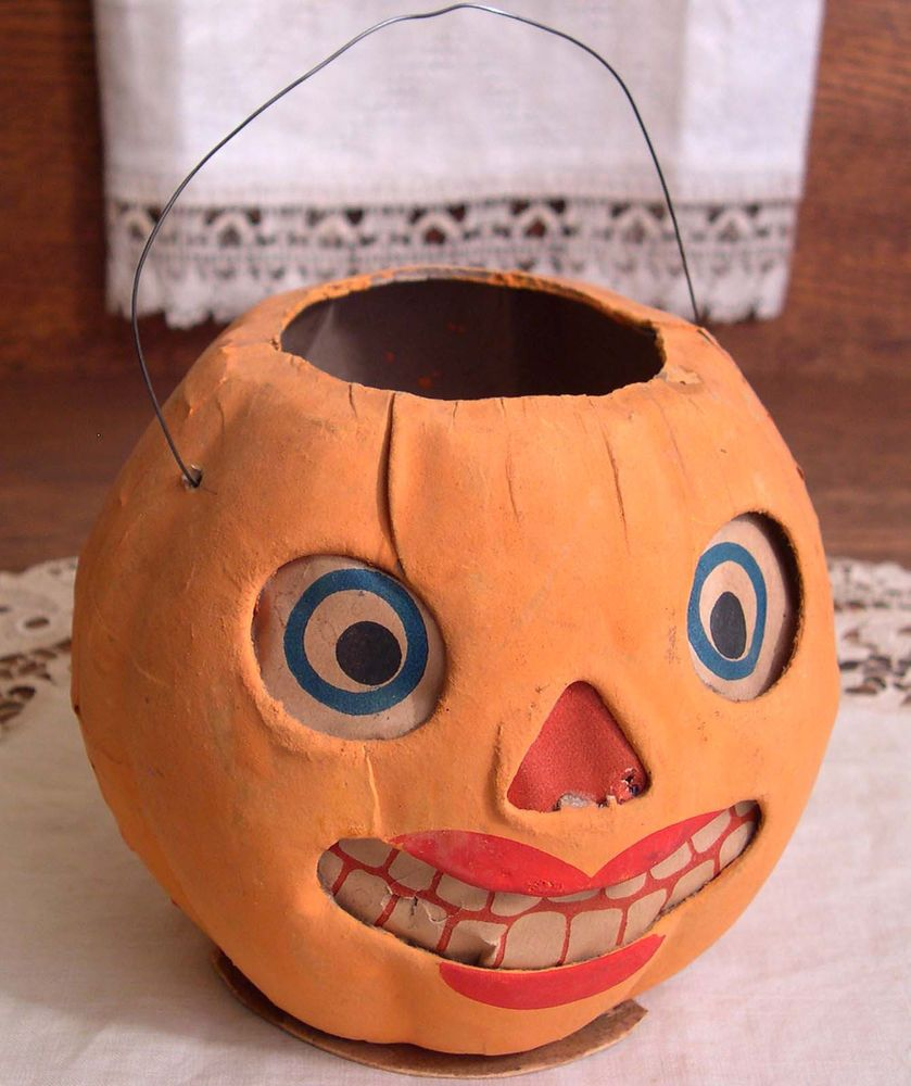 All original vintage halloween paper mache lady jack o for Papier mache lanterns