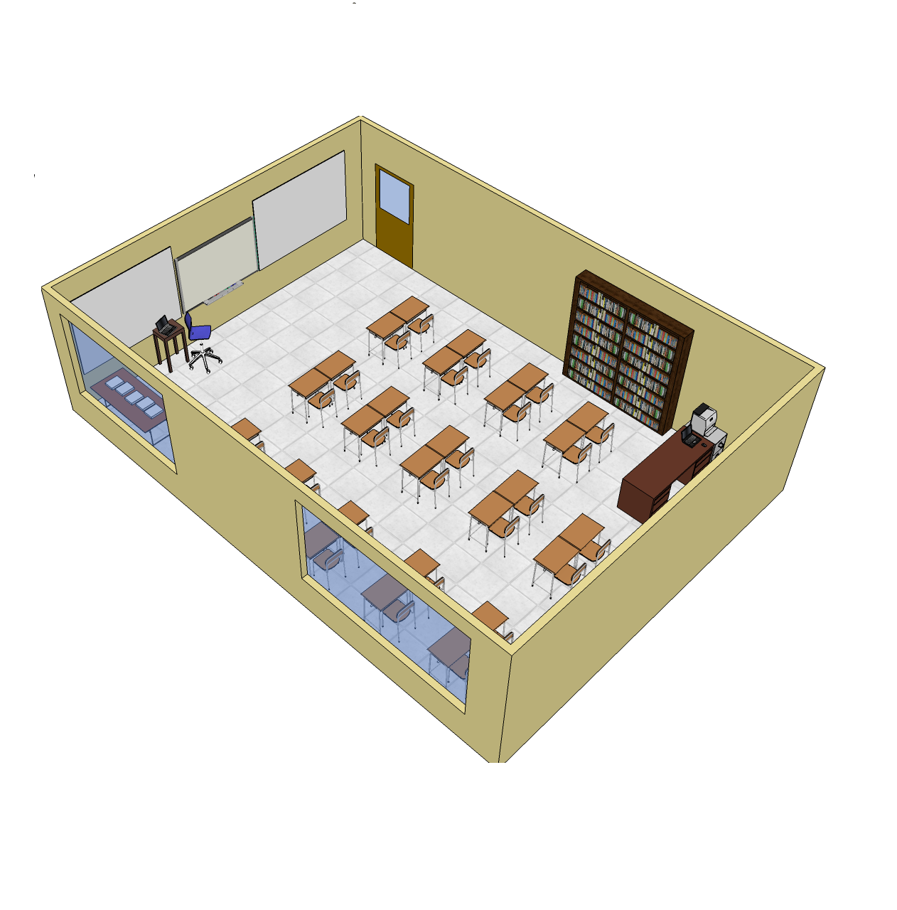 School classroom layout school furniture free 3d cad for 3d sketch online
