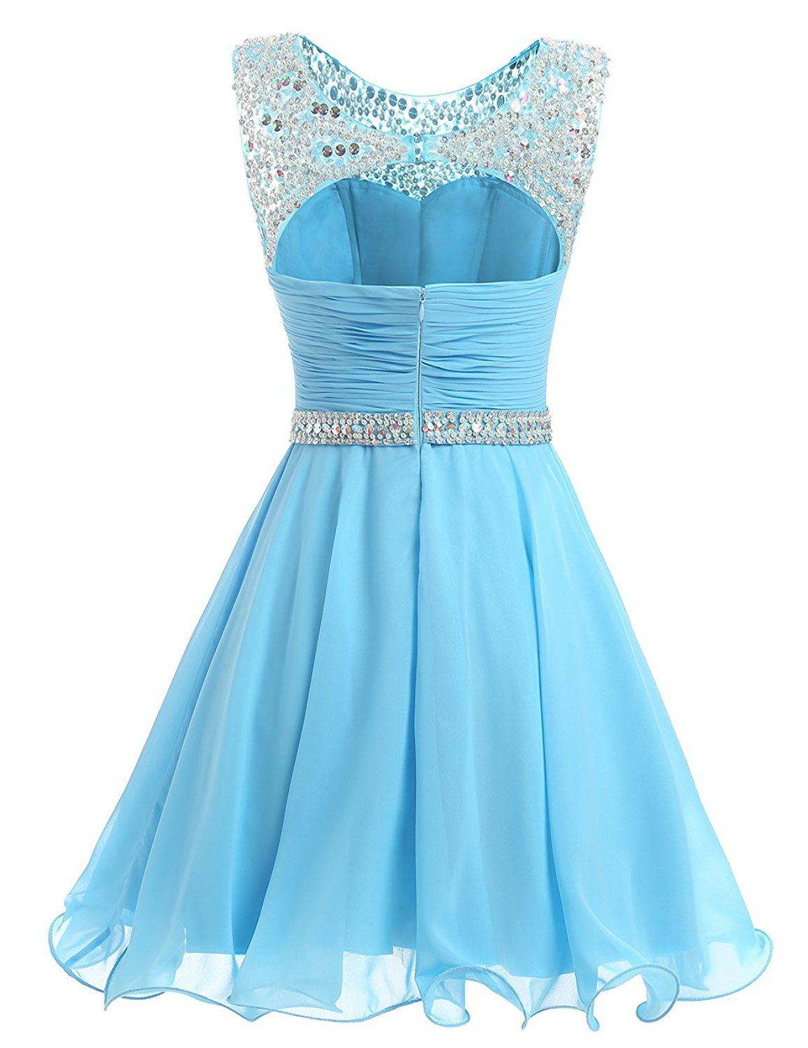 Dresstells® Short Chiffon Open Back Prom Dress With Beading ...