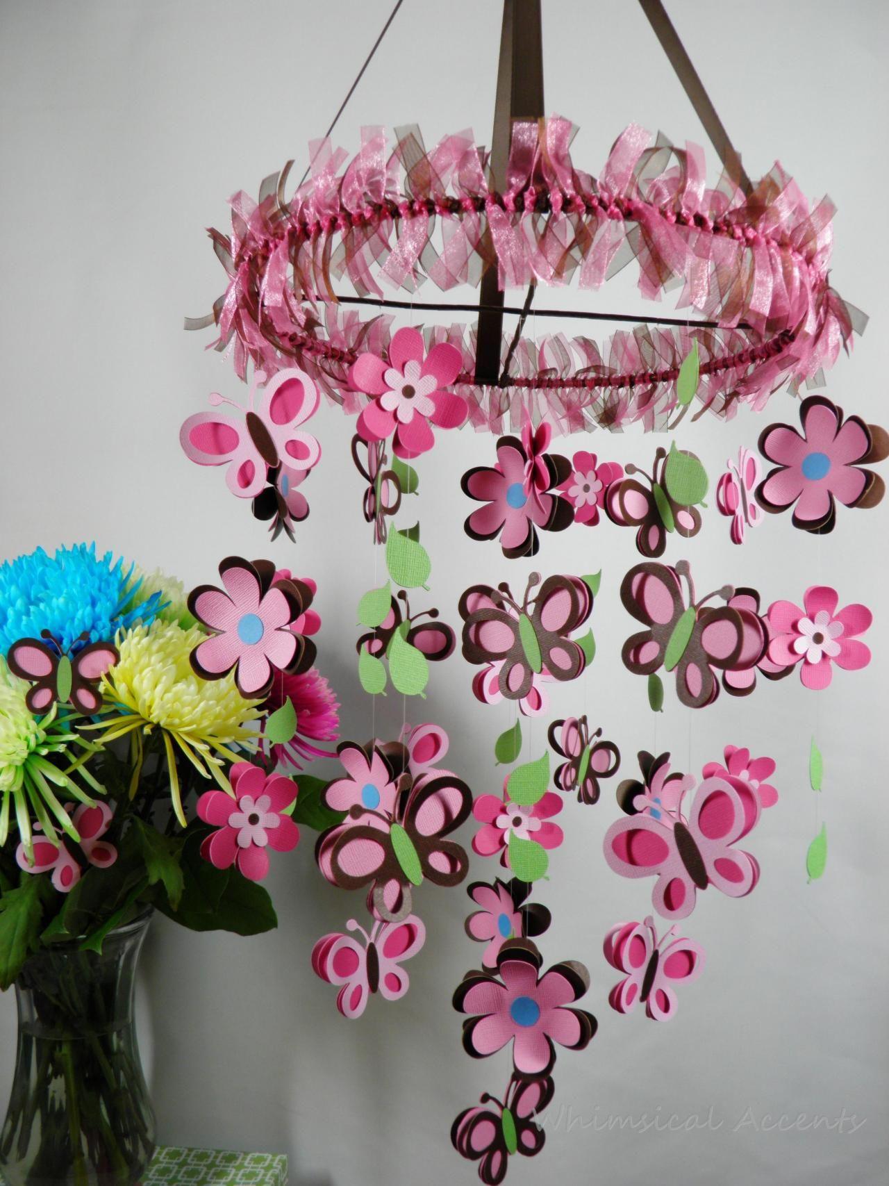 Flower butterfly and leaf nursery mobile eva sinos de vento artesanato mobiles de beb e - Manualidades para decorar habitacion ...