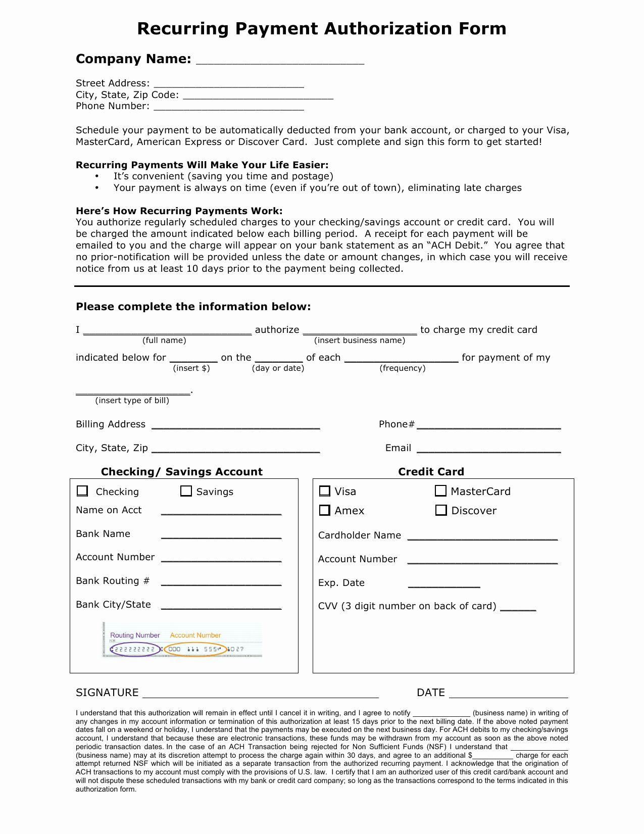 Credit Card Authorization Form Word Unique Download Recurring Payment Authorization Form Business Card Template Word Free Business Card Templates Card Template Credit card form template word
