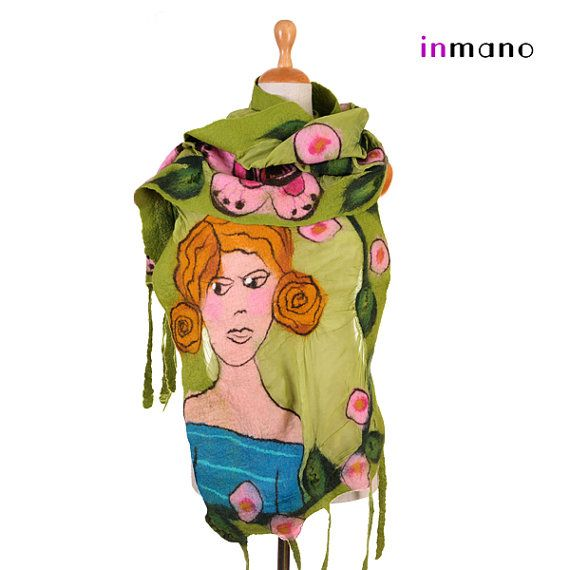 nuno felted scarf picture of you  silk and wool nuno by inmano, $129.00