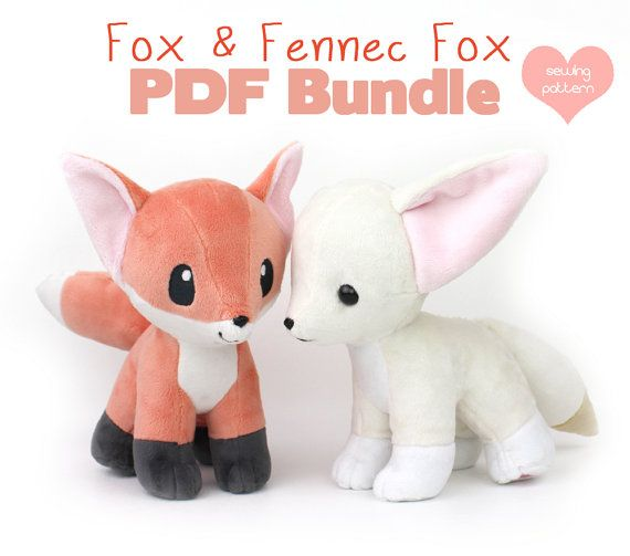 PDF sewing pattern bundle Fox and Fennec stuffed animal with   Nähen ...