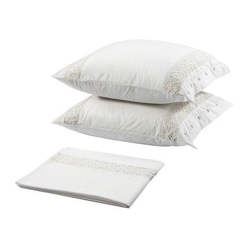 ikea emmie spets drap et taie d 39 oreiller 240x280 65x65 cm en coton percal tiss serr. Black Bedroom Furniture Sets. Home Design Ideas