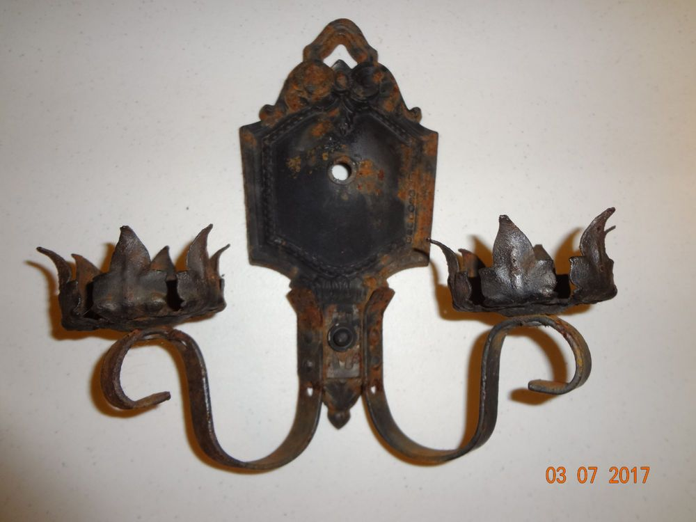 Vintage Lighting Leviton Rusty Metal Electric Wall Sconce Needs
