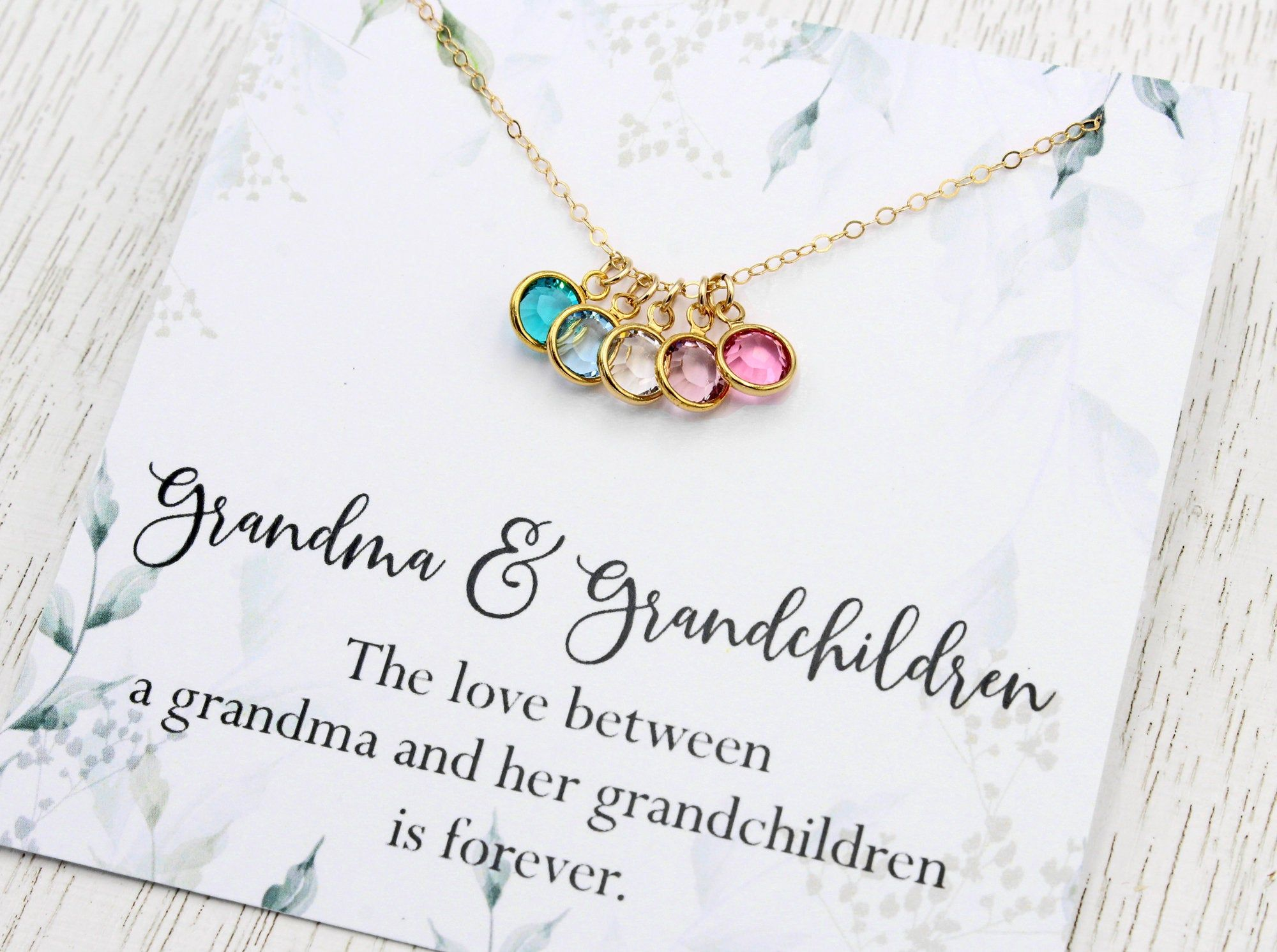 Personalized Necklace for Grandmother Crystal Birthstone Necklace for Mom Gift for Mom in Silver Gold or Rose Gold Jewelry for NANA