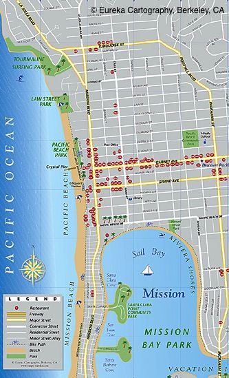 Pacific Beach San Diego Visitor Map C Eureka Cartography Berkeley