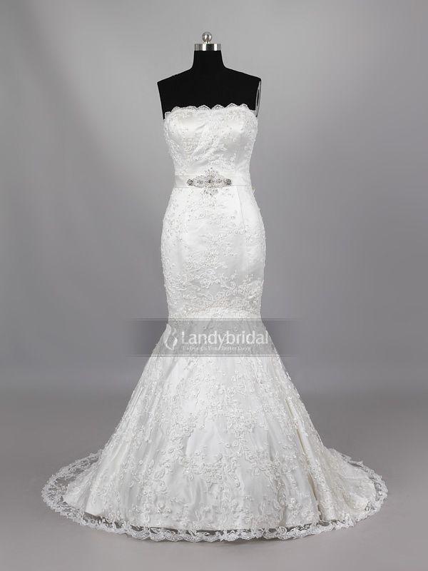 ランディブライダル ウェディングドレス マーメイド ビスチェ レース ビーズ コートトレーン アイボリー H5lblb1036g