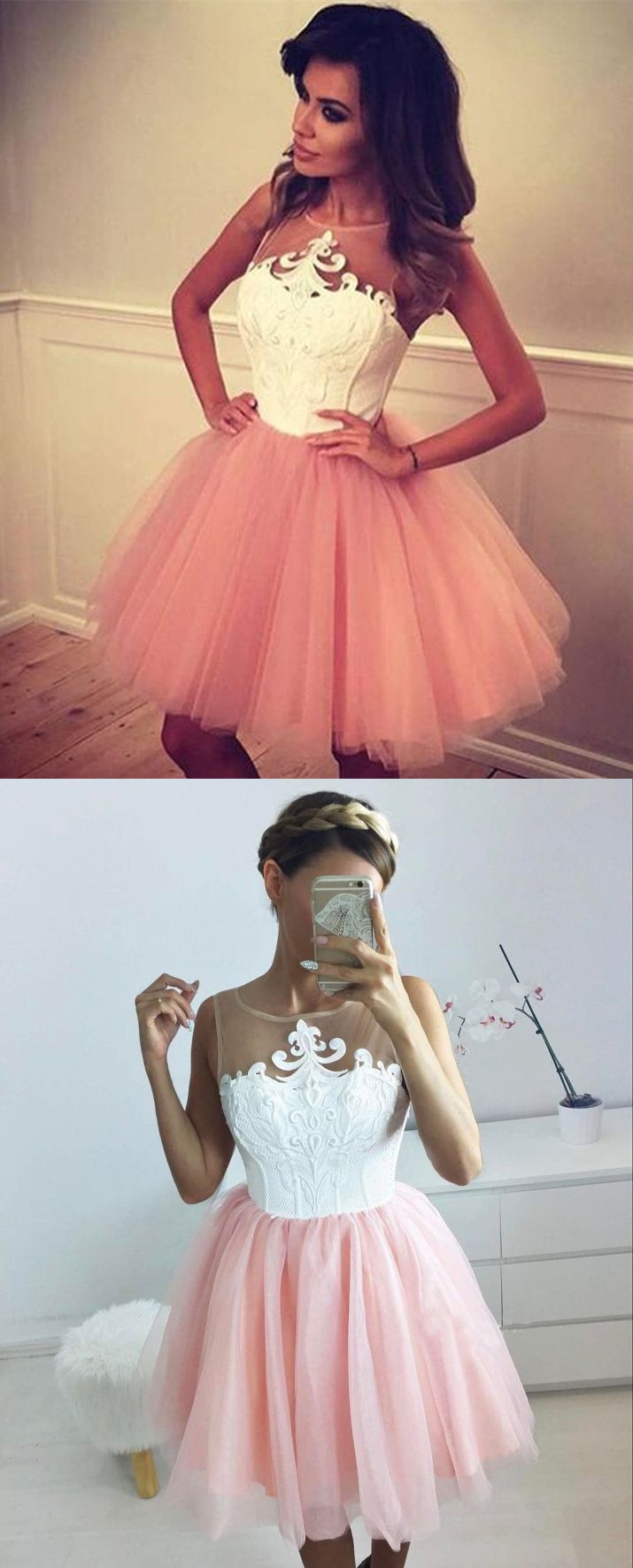 Ball Gown Jewel Short Pink Tulle Homecoming Dress with Appliques ...