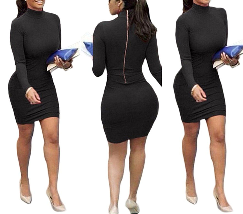 Womenus girls high collar long sleeve zipper back bodycon party club