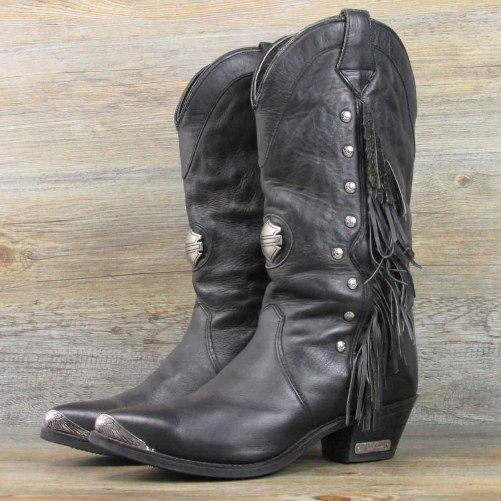 Harley Davidson USA Rare Fringe Biker Cowgirl Riding Boots Size 9 ...