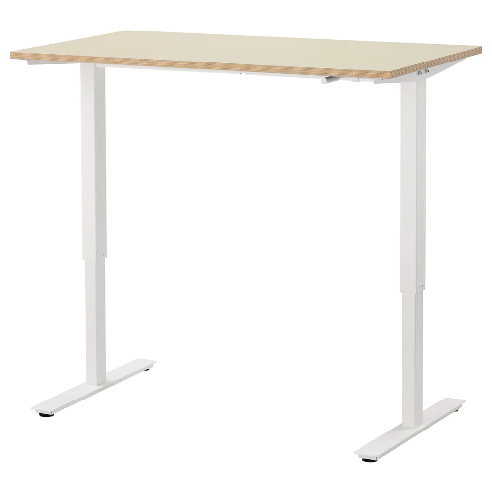 Skarsta Desk Sit Stand Beige White 47 1 4x27 1 2 Ikea In 2020 Ikea Desk Home Desk