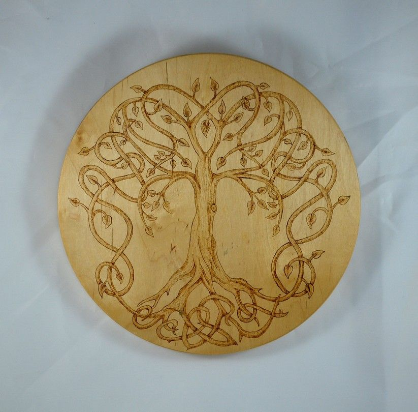 The Tree Of Life Pyrography Sculpture Pyrogravure Divers