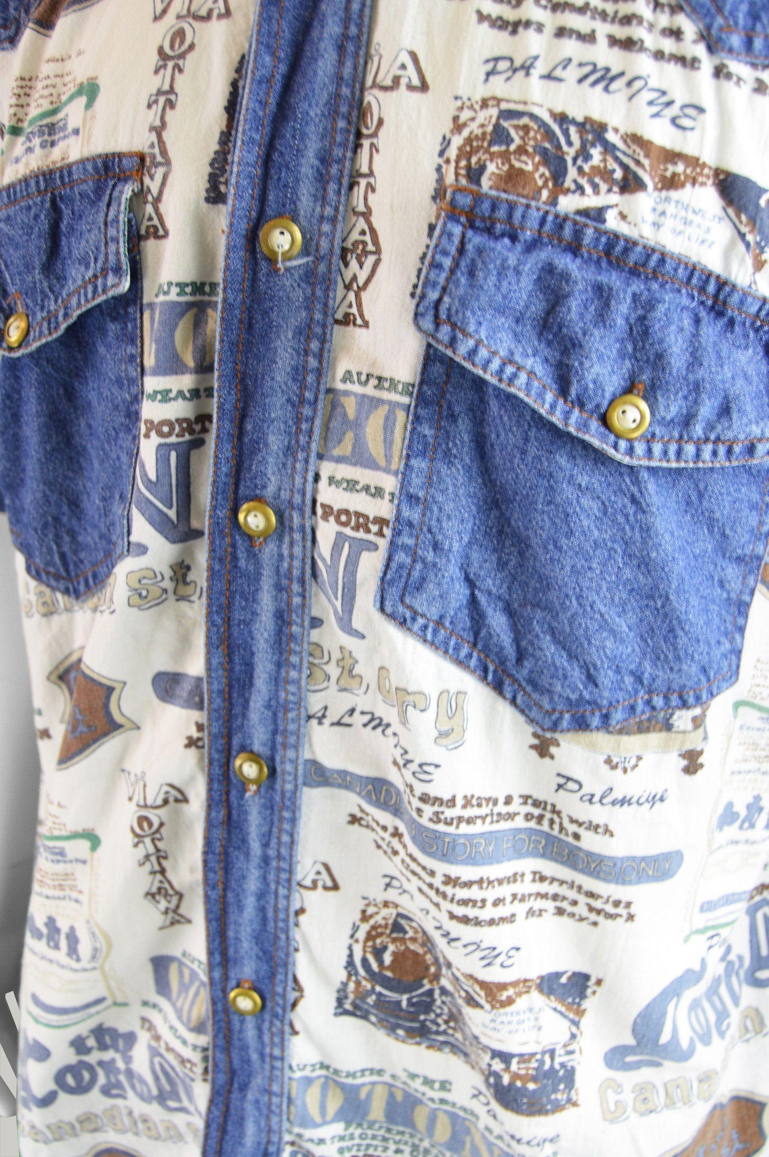 Vintage Des Annees 90 En Jean Pour Homme Chemise En Coton Denim Shirt Denim Shirt Men Womens Skirt