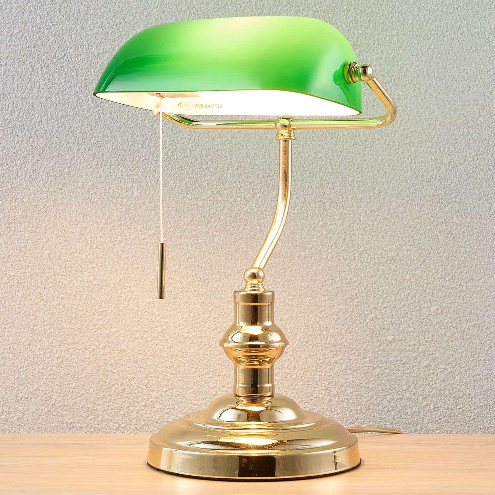 Lampe Banker Milenka Laiton Poli En 2020 Lampe De Bureau Laiton Poli Lampes Antiques