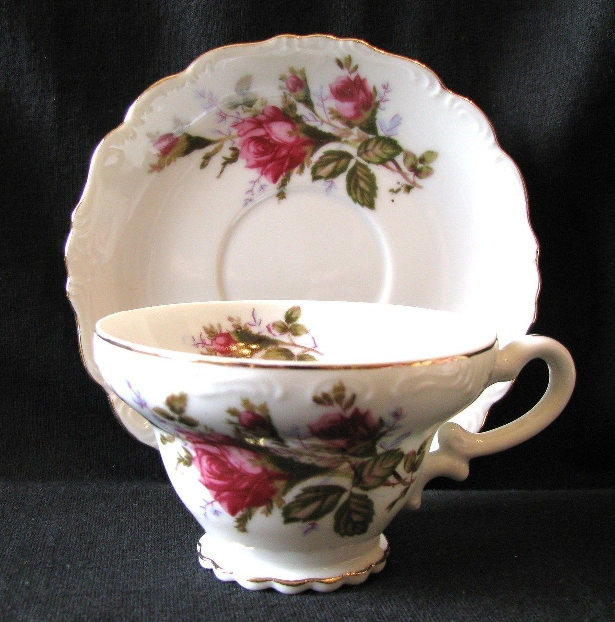 Vintage Royal Sealy footed tea cup and saucer in the Moss
