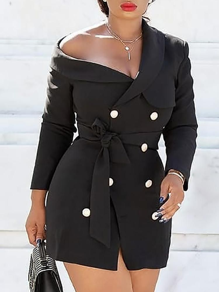 f98532d1861b9 One Shoulder Double-Breasted Belted Blazer Dress Coats jackets ...