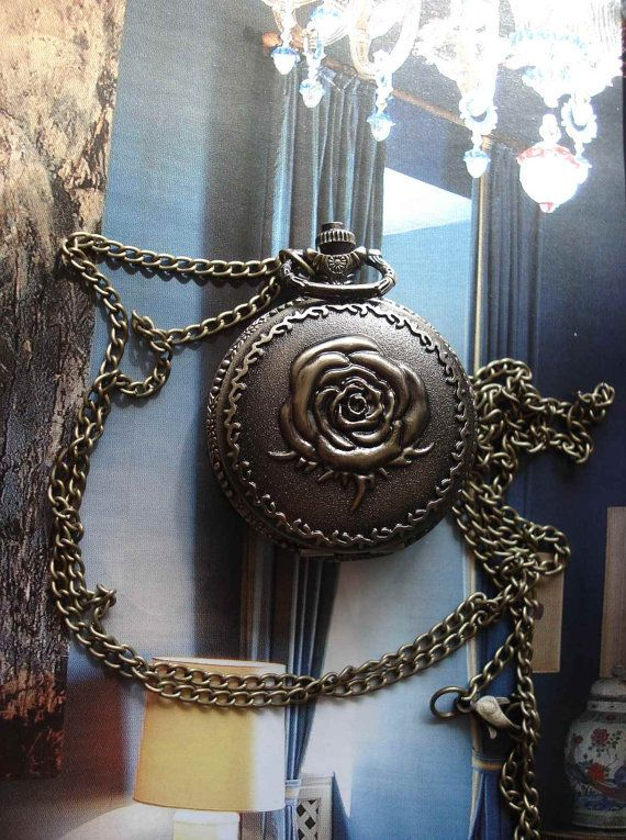 Rose Flower Bronze Pocket Watch Pendant by Azuraccessories on Etsy, $5.75