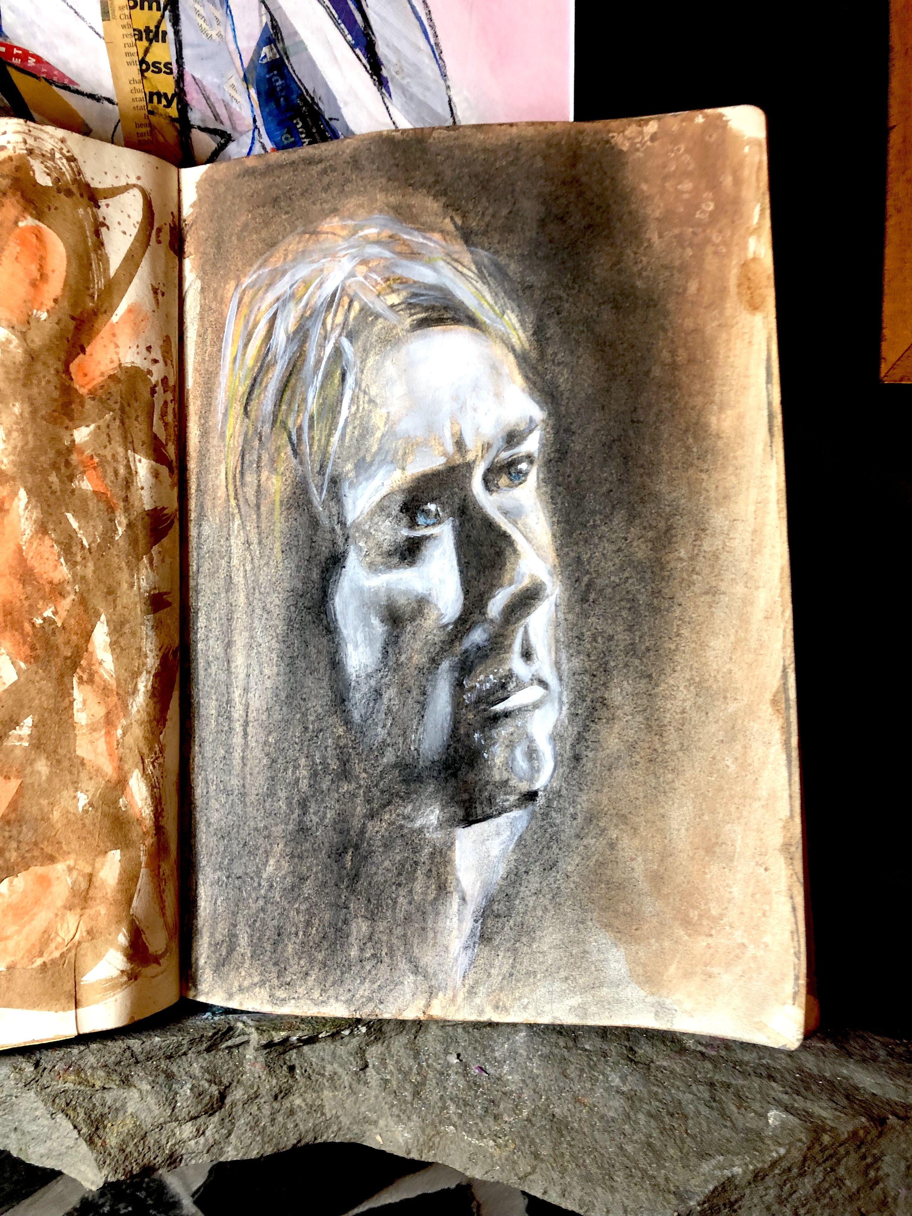 Kurt cobain portrait by gj gillespie graphite charcoal acrylic