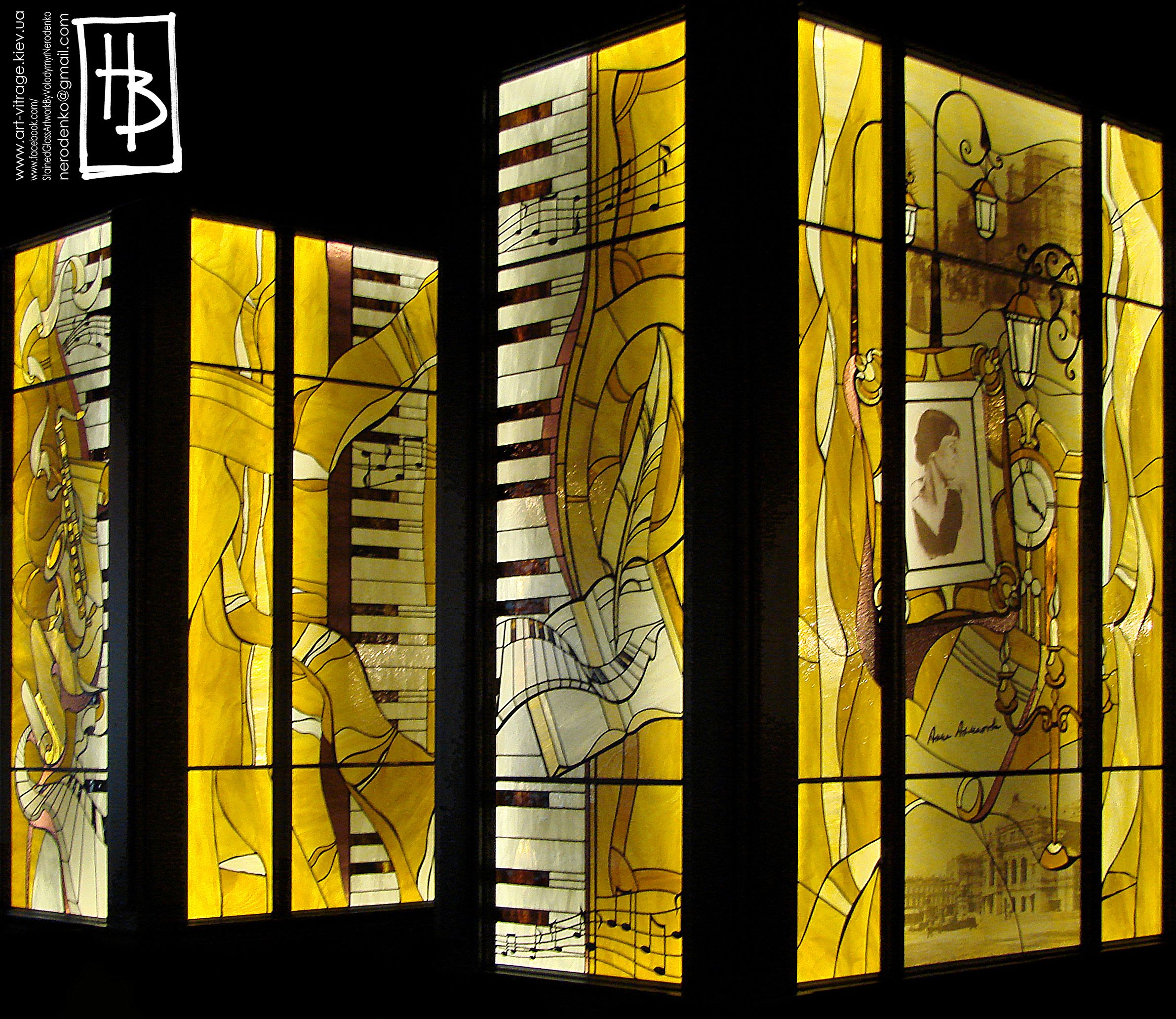 Decorative stained glass panels at Alfavito Kyiv Hotel restaurant ...