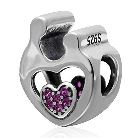 Charmstar Mother Child Love Heart Charm with Fuchsia CZ Stones Authentic Sterling Silver Family Bead for European Bracelet