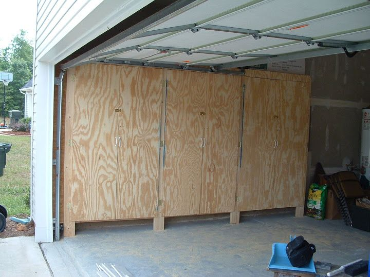 Enclosed Garage Shelves With Lockable Plywood Doors