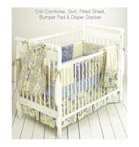 DIY pattern, K3685, Crib Comforter, Skirt, Fitted Sheet, Bumper Pad & Diaper Stacker