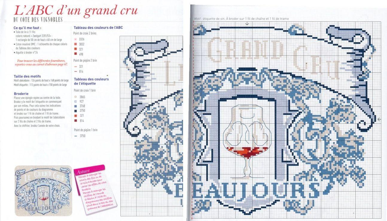 L Art Du Point De Croix 0 point de croix grille étiquette vin | cross stitch, stitch