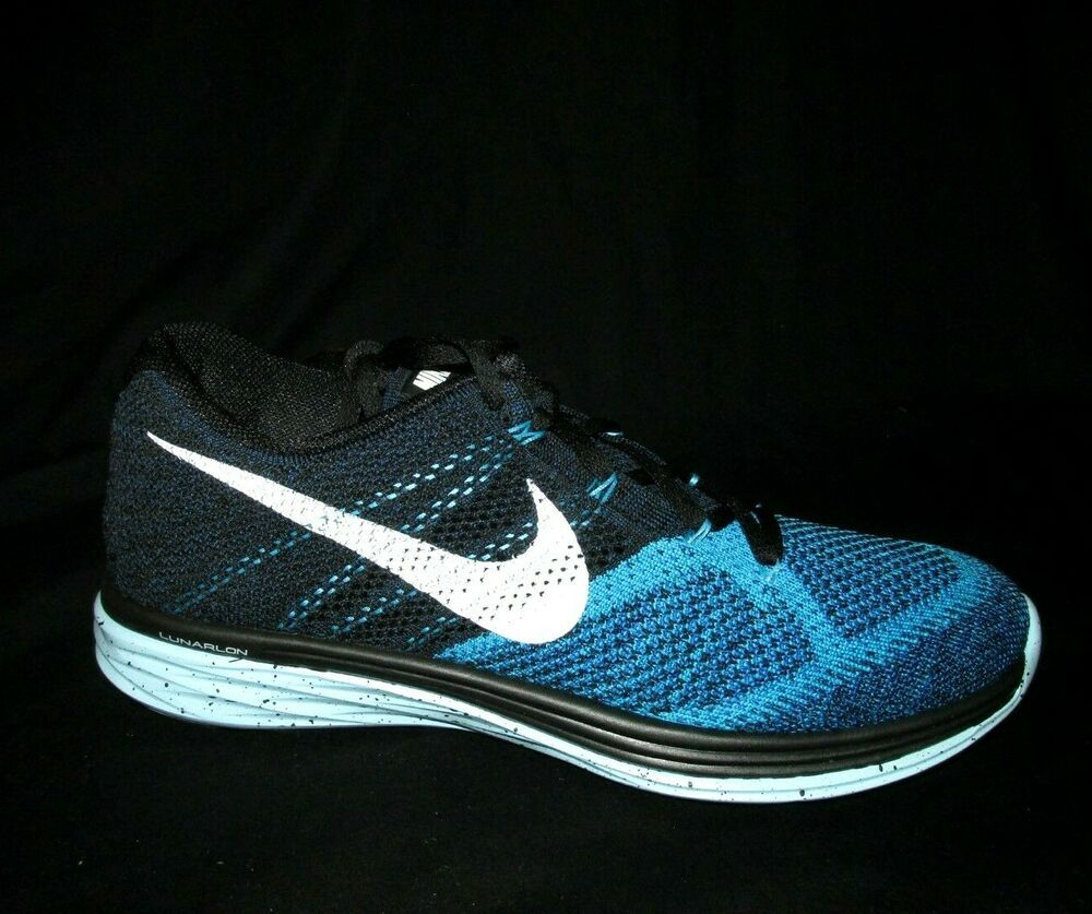 new concept abc97 997ef Nike Flyknit Lunar 3 Mens Running Shoes 12 Black White Blue ...