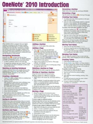 Onenote 2010 Introduction Quick Reference Guide Cheat Sheet Of Instructions Tips Shortcuts Laminated One Note Microsoft Computer Help Computer Knowledge