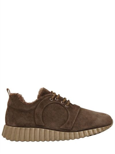 SALVATORE FERRAGAMO 30Mm Massa Suede & Shearling Sneakers, Olive Green. # salvatoreferragamo #shoes