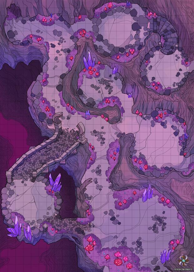 Forgotten Desert Purple Map : forgotten, desert, purple, Mushroom, Cave,, Public, Mapzo, Patreon, Tabletop, Maps,, Dungeon, Fantasy