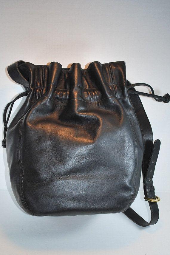 14d5fa6da01ad Vintage Retro Large Coach Made in USA Black Leather Drawstring ...