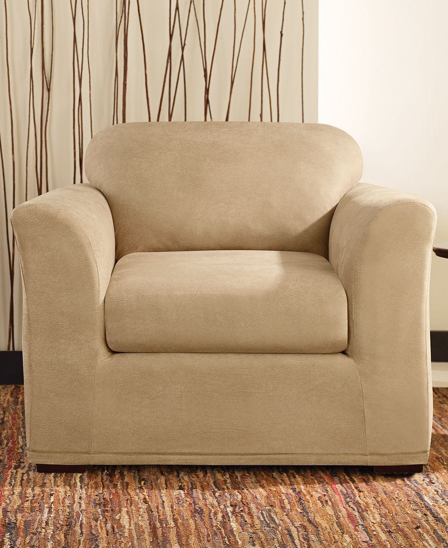 Sure Fit Stretch Faux Leather Separate Seat T Cushion Chair Slipcover