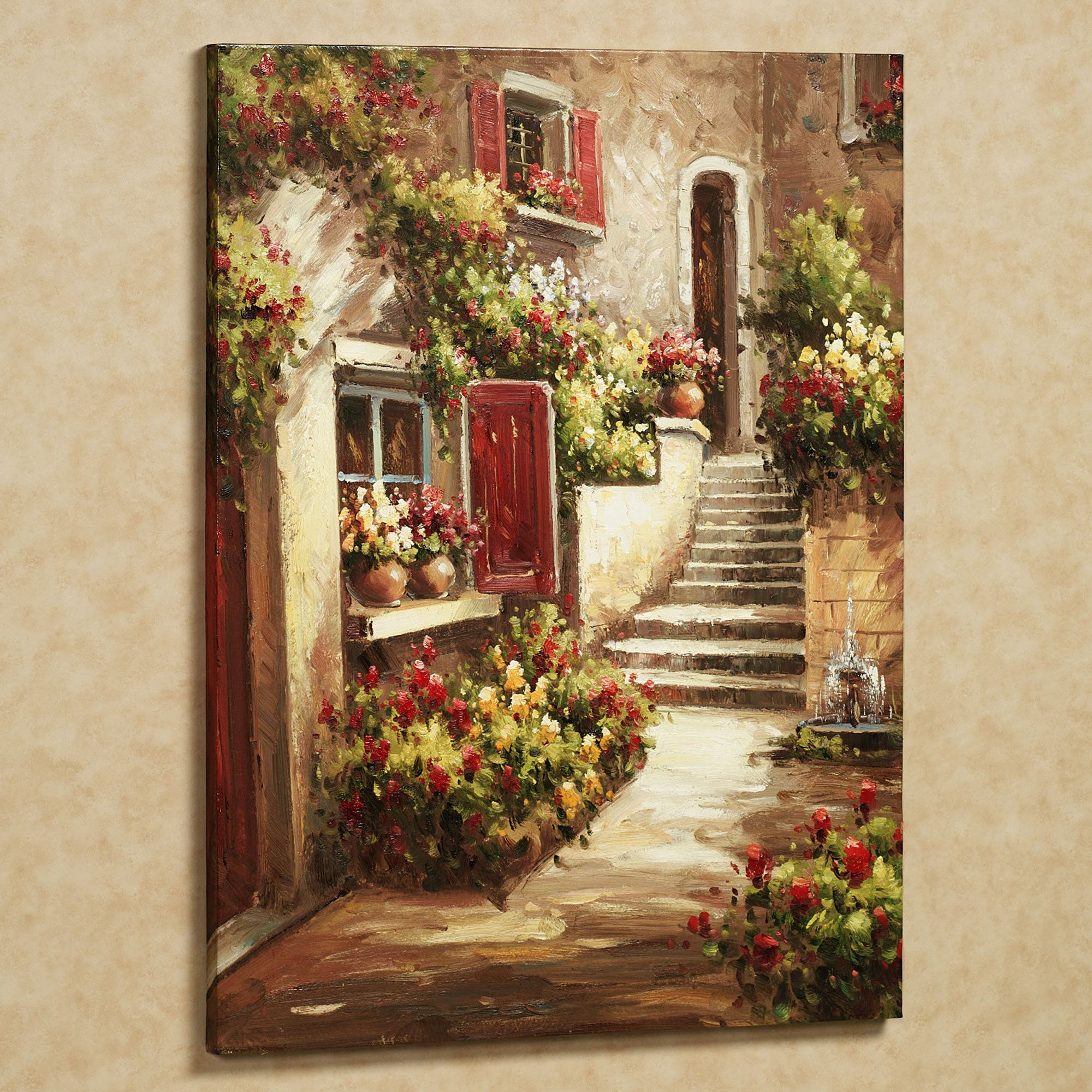 Tuscan Flowers Canvas Wall Art Tuscan Art Flower Canvas