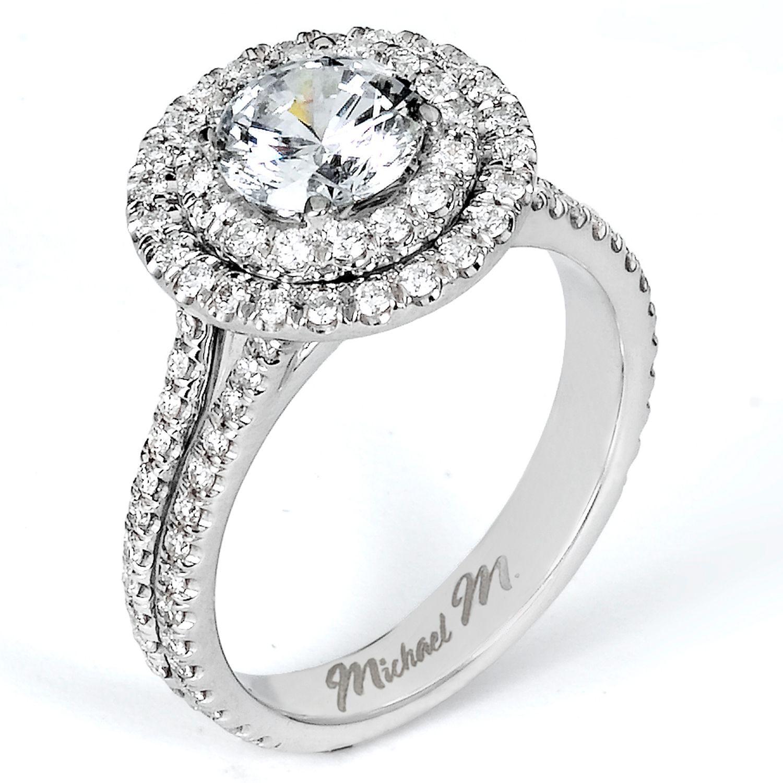 Handcrafted Double Halo Platinum Engagement Ring Featuring Split Shank Details. - VNYMCLM-R540 | Vanscoy Diamonds