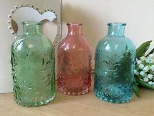Vintage Style Glass Bottle Perfume Bud Vase Dressing Table Decor Gift 3 Colours