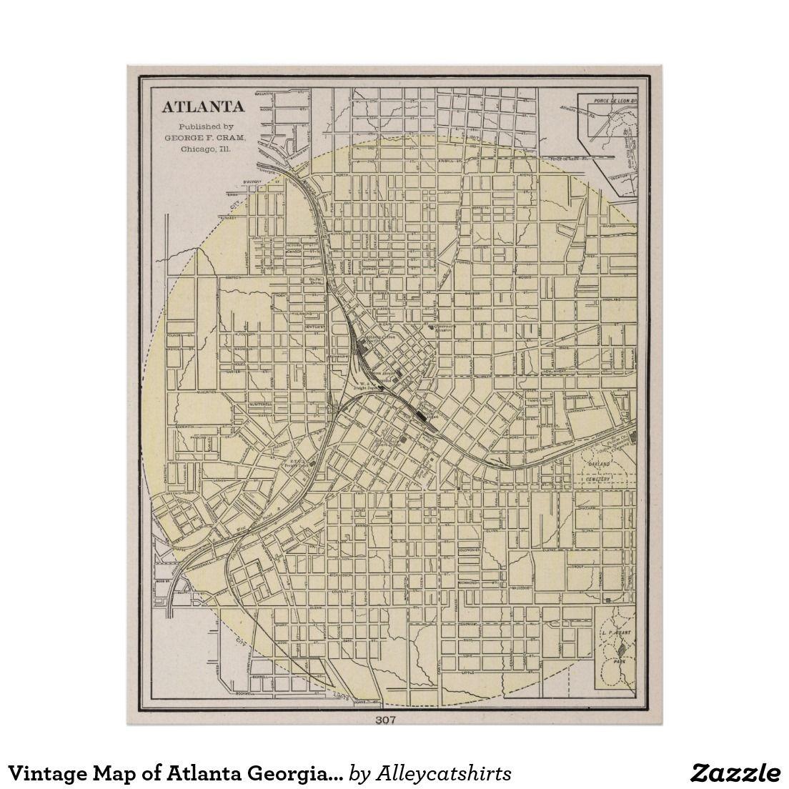 Vintage Map Of Atlanta Georgia 1901 Poster Zazzle Com Vintage Map Atlanta Map Art Prints