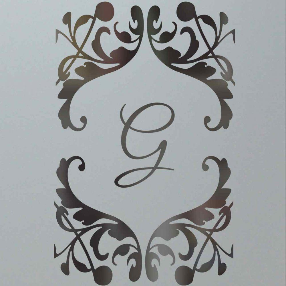 Frosted etched glass door monogram scroll design sans soucie home
