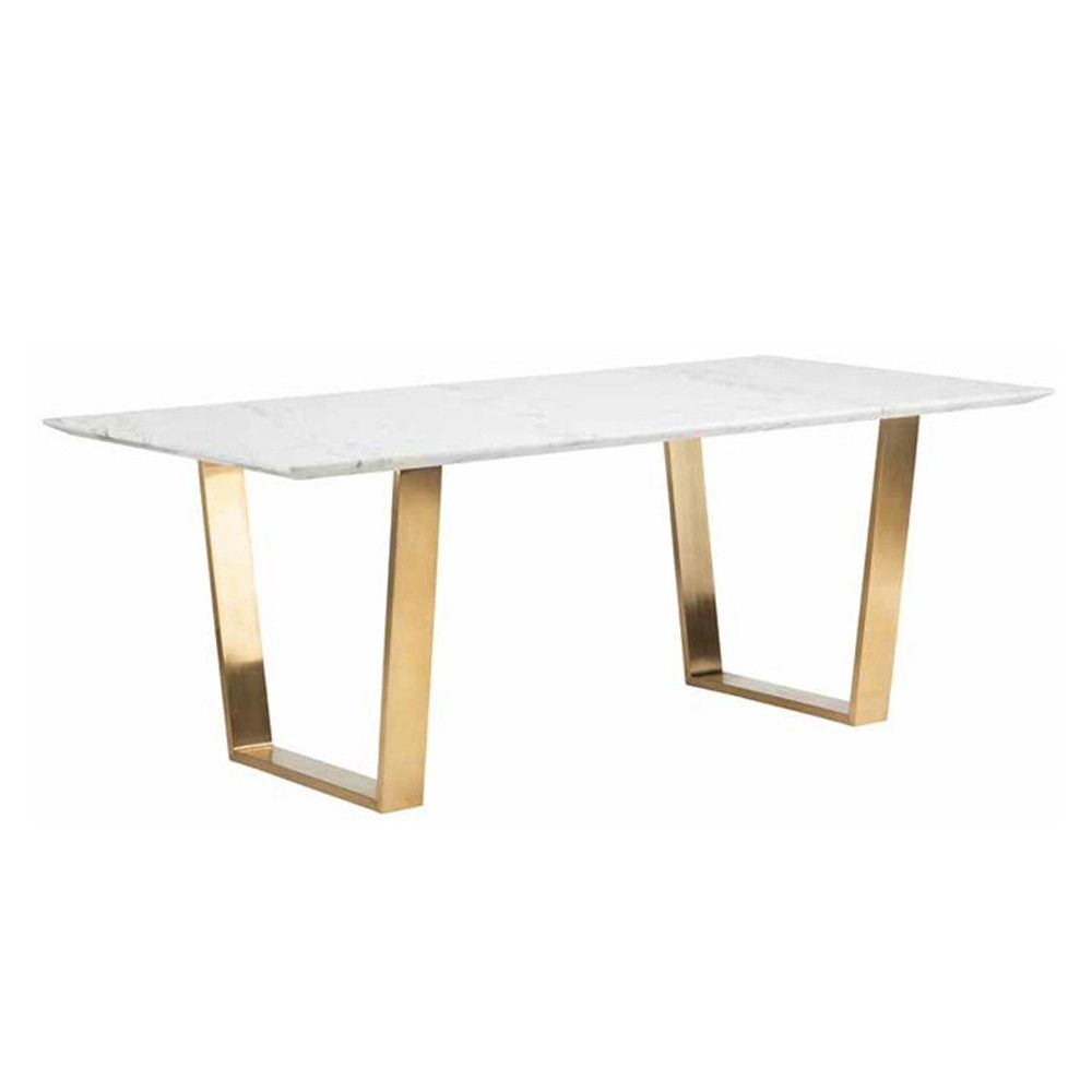 A Simple Yet Exquisite White Marble Dining Table With Brushed Gold Steel  Legs.   Dimensions