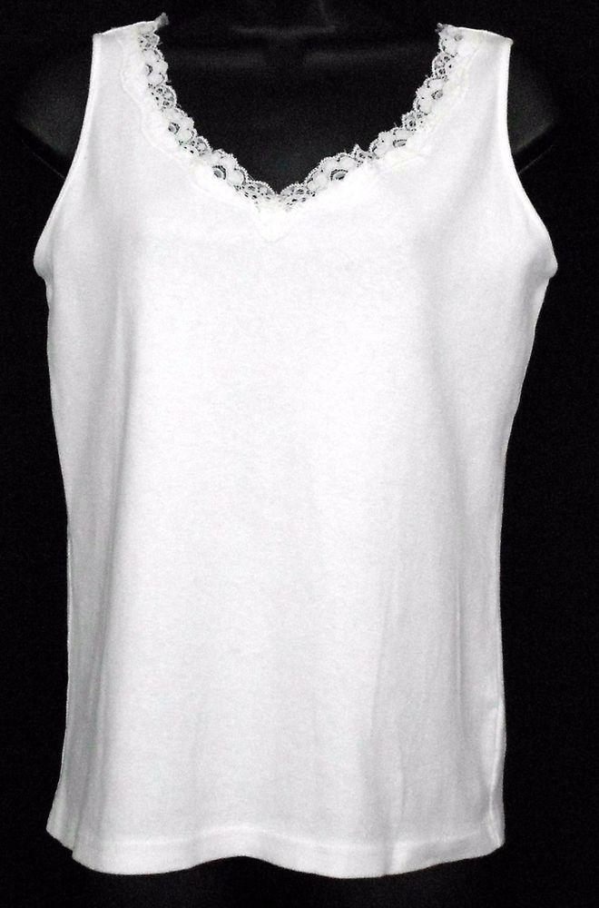 eeac8afd96e21 Karen Scott Tank Top Size S White Cotton Solid Sleeveless Lace Trim V Neck  Women - A great wardrobe basic