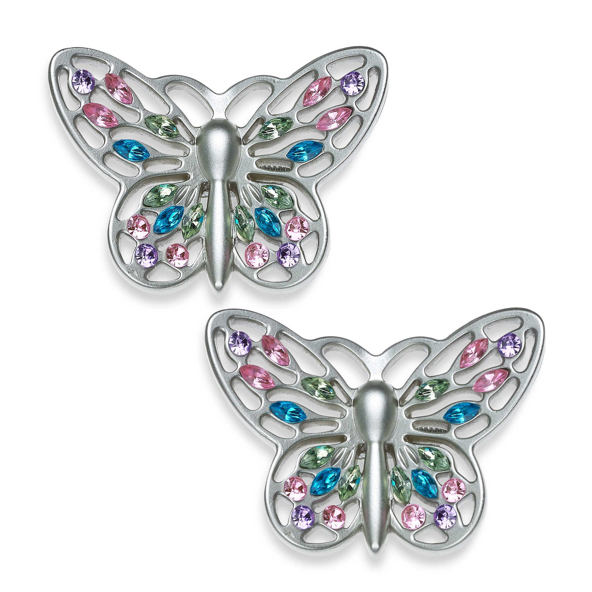 Cambria My Room Jeweled Butterfly Finial In Brushed Nickel Set