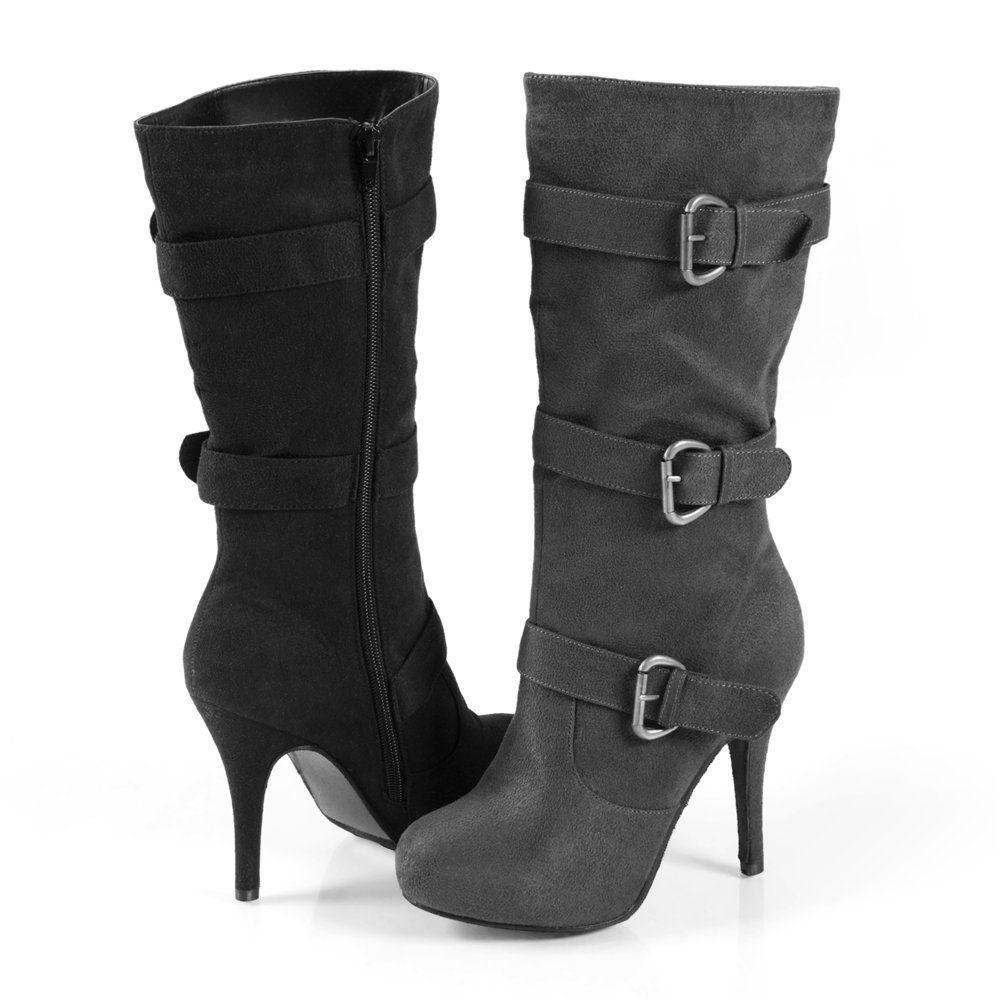 Footwear - Brinley Co Womens Buckle Detail High Heel Boot My Style