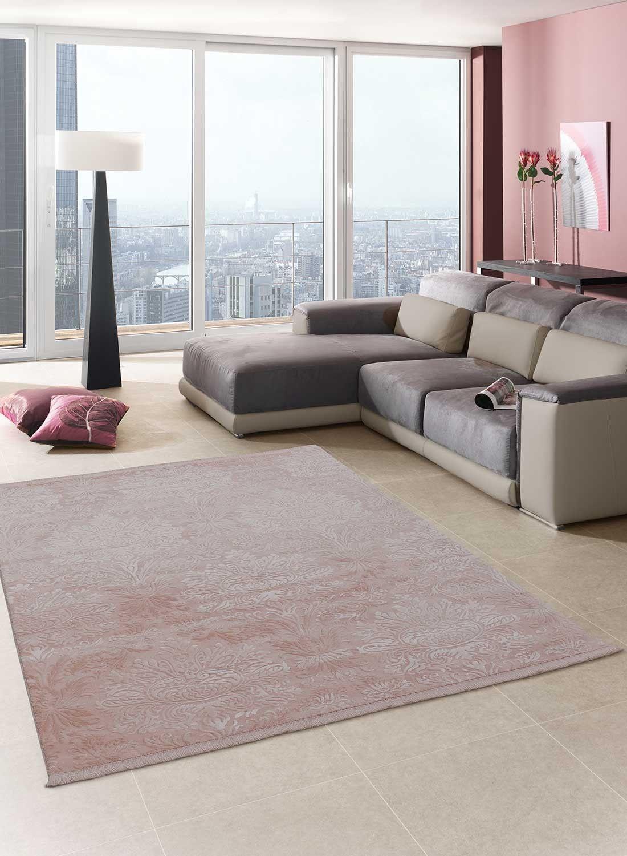 tapis pastel baroque soyeux 2 rose de