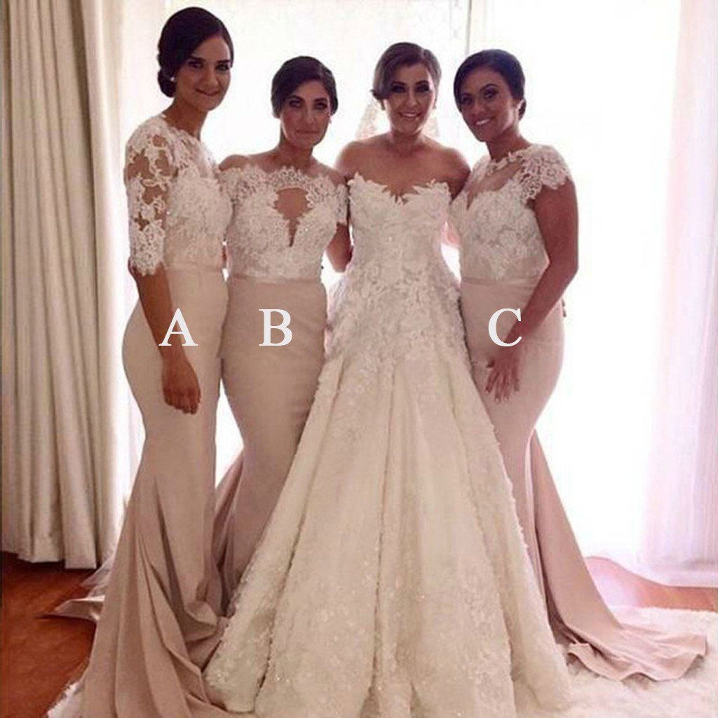 Affordable mismatched lace mermaid long wedding bridesmaid dresses