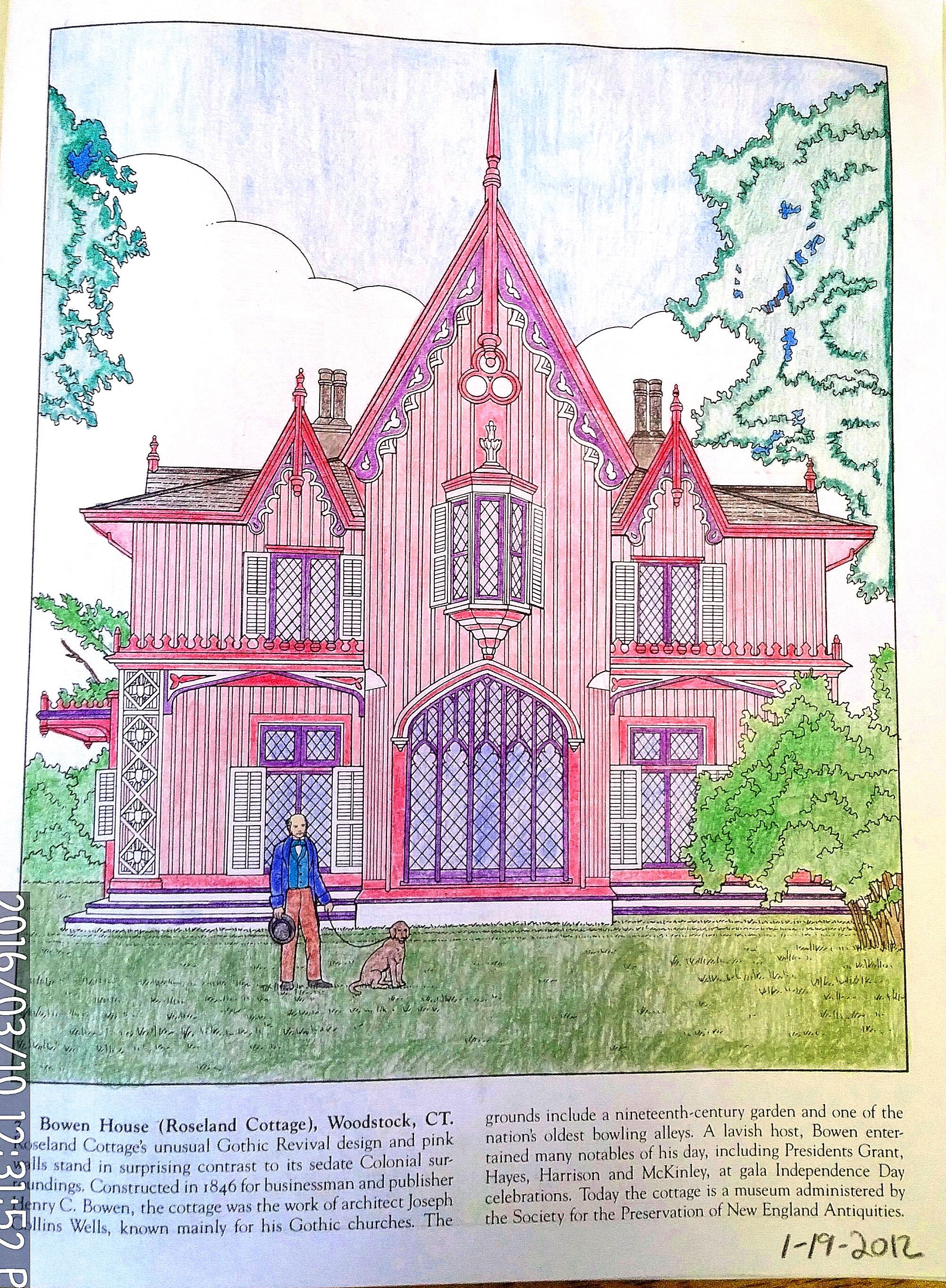 Historic Homes of New England Dover Coloring Book, page 7, Bowen ...
